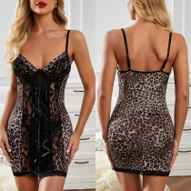 Sexy Backless V-neck Lace Spliced Leopard Printed Sling Lingerie