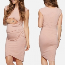 Elegant Solid Color Sleeveless Round Neck Maternity Dress