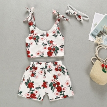 Sexy Printed Sling Top + Shorts + Headband Three-piece Set for Kids