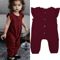 Cute Style Lotus Sleeve Round Neck Solid Color Children Jumpsuit