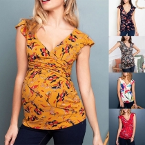 Sexy V-neck Sleeveless Printed Maternity T-shirt Top