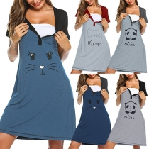 Cute Cartoon Printed Short Sleeve Round Neck Contrast Color Maternity Dress
