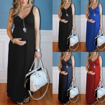Sexy Backless V-neck High Waist Solid Color Sling Maternity Dress