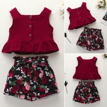 Fashion Sleeveless Ruffle Hem Top + High Waist Printed Shorts Children Set