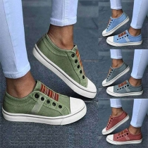 Casual Style Flat Heel Round Toe Striped Spliced Canvas Shoes