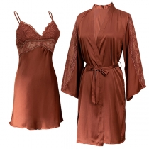 Sexy Solid Color Backless V-neck Lace Spliced Sling Dress + Robe Ice Silk Nightwear Two-piece Set