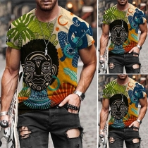 Casual Style Short Sleeve Round Neck Colorful Totem Printed Man's T-shirt