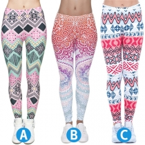 Chic Style Colorful Printed High Waist Stretch Leggings