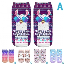 Cute Cartoon Printed Invisible Shorts Socks  2 Pair/Set