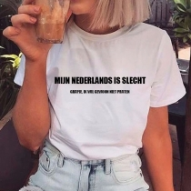 Simple Style Short Sleeve Round Neck Letters Printed T-shirt