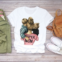 Casual Super Mom Shirt with Short Sleeve Round Neck Women's T-shirt