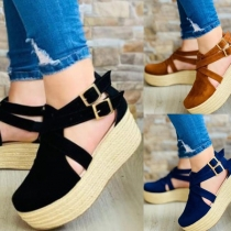 Fashion Thick Heel Round Toe Sandals