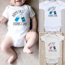 Simple Style Short Sleeve Round Neck Letters Printed Baby Romper