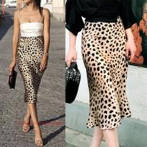 Fashion High Waist Slim Fit All-match Leopard Printed Skirt