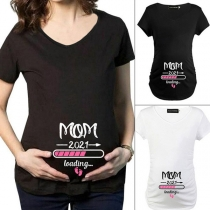 Casual Style Short Sleeve Round Neck Baby Loading T-shirt for Pregnant Woman