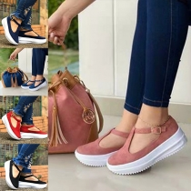 Casual Style Thick Heel Round Toe Loafers Shoes
