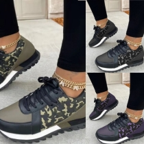 Casual Style Flat Heel Round Toe Camouflage Printed Lace-up Shoes