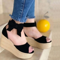 Fashion Thick Sole Wedge Heel Peep Toe Bow-knot Sandals