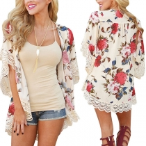 Fashion Lace Spliced Trumpet Sleeve Printed Sunscreen Cardigan