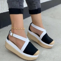 Fashion Contrast Color Round Toe Thick Sole Sandals