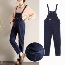 Playful Style High Waist Relaxed-fit Denim Overalls for Pregnant Woman