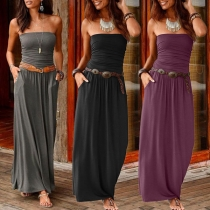 Sexy Strapless High Waist Solid Color Maxi Dress