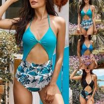 Sexy Hollow Out High Waist V-neck Printed Sling One-piece Swimsuit