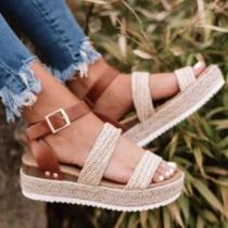 Fashion Contrast Color Thick Sole Open Toe Sandals