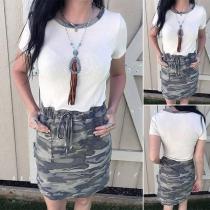 Fashion Camouflage Printed Short Sleeve Round Neck Drawstring Waist Dress