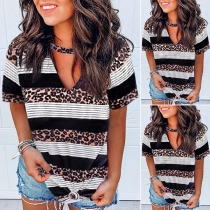 Casual Style Short Sleeve V-neck Leopard Striped Printed Loose T-shirt