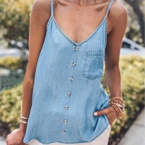 Sexy Backless V-neck Front-button Loose Sling Denim Top