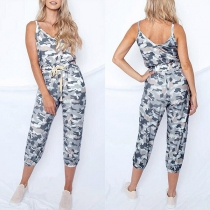 Sexy Backless V-neck High Waist Camouflage Printed Sling Jumpsuit