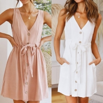 Fashion Solid Color Sleeveless V-neck Single-breasted Lace-up Dress