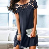 Fashion Solid Color Short Sleeve Round Neck Lace Spliced Loose Dress