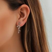 Fashion Rhinestone Inlaid Music-note Shaped Asymmetric Stud Earrings