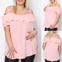 Sexy Off-shoulder Short Sleeve Solid Color Ruffle Sling Top