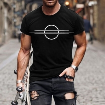 Simple Style Short Sleeve Round Neck Printed Man's Casual T-shirt