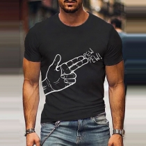 Playful Style Gesture Printed Short Sleeve Round Neck Man's T-shirt
