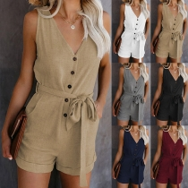 Sexy V-neck Sleeveless High Waist Lace-up Solid Color Romper