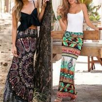 Retro Style High Waist Printed Maxi Skirt