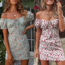 Sexy Off-shoulder Boat Neck Short Sleeve Slim Fit Printed Dress