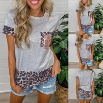 Fashion Leopard Spliced Short Sleeve Round Neck Casual T-shirt