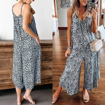 Sexy V-neck High Waist Wide-leg Leopard Printed Sling Jumpsuit