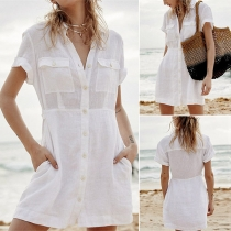 Fashion Solid Color Short Sleeve POLO Collar Single-breasted Beach Romper