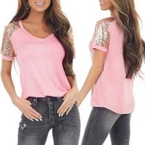 Fashion Sequin Spliced Short Sleeve V-neck T-shirt