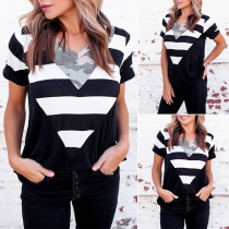 Fashion Camouflage Striped Spliced Short Sleeve V-neck Loose T-shirt