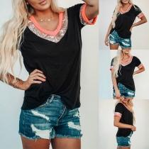 Fashion Contrast Color Sequin Spliced Short Sleeve V-neck Loose T-shirt
