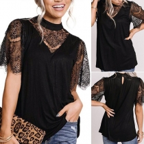 Sexy Lace Spliced Short Sleeve Mock Neck Solid Color T-shirt