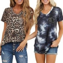 Fashion Leopard/Tie-dye Printed Short Sleeve V-neck Loose T-shirt