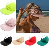 Fashion Solid Color Wide-brim Elastic Hollow Sun Hat